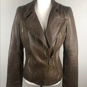 MICHAEL Michael Kors Brown Genuine Leather Jacket